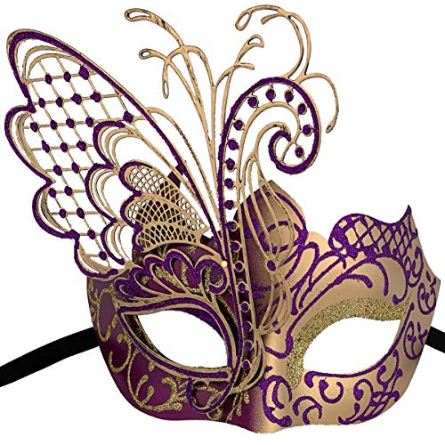 Xvevina Masquerade Mask for Women Shiny Glitter Venetian Pretty Party Evening Prom Mask (Butterfly Gold&Purple) (Best Halloween Costumes 2019 Couples)