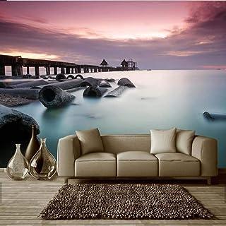 BIZHIGE 3D Bridge Stone Sea Carta da Parati Murale Naturale per Camera da Letto Soggiorno TV Sfondo Home Decor Wall Rotolo di Carta Custom Size-140 × 70Cm