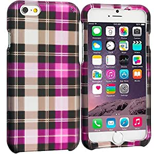Accessory Planet(TM) Hot Pink Checkered 2D Hard Snap-On Design Rubberized Case Cover Accessory for Apple iPhone 6 Plus (5.5) by lolosakes