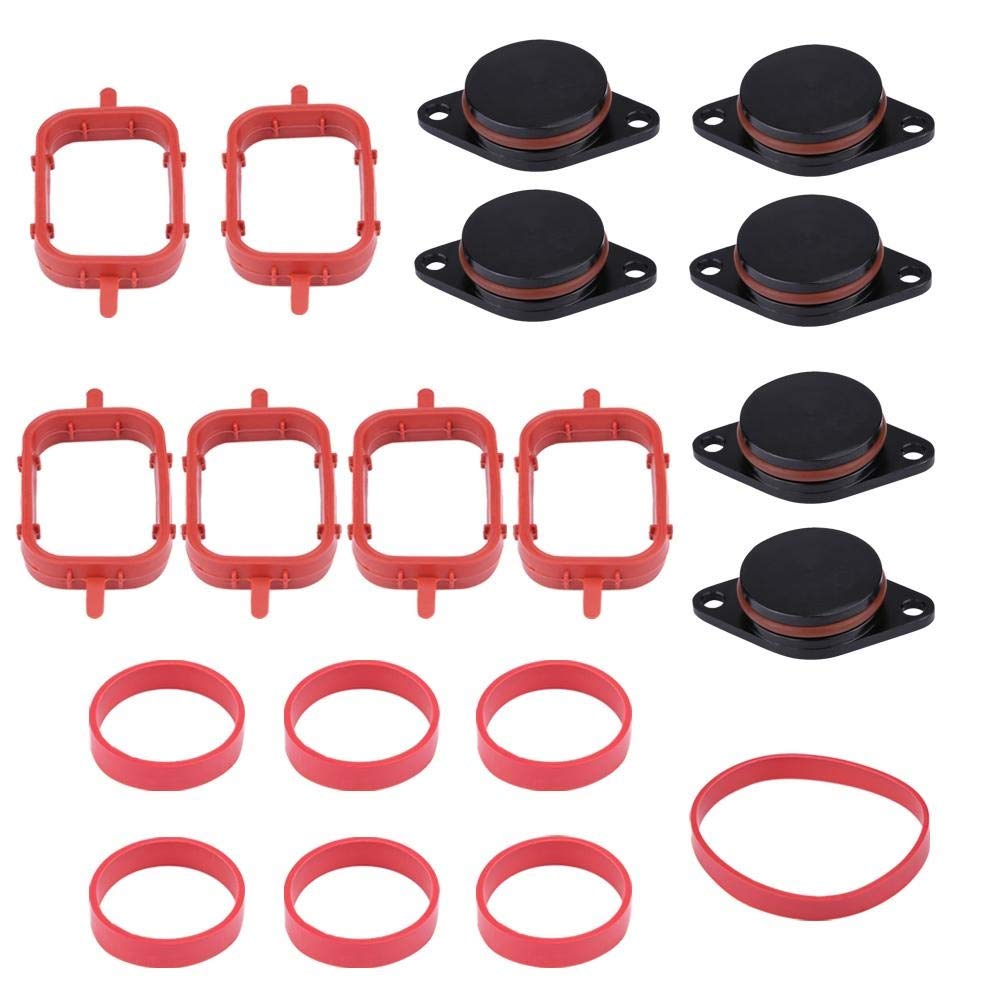 Manifold Gaskets - 1 Set of 633mm Car Intake Diesel Swirl Flap Blanks Repair Kit With Manifold Gaskets for BMW (Black Blue and Red) (Color : Black)