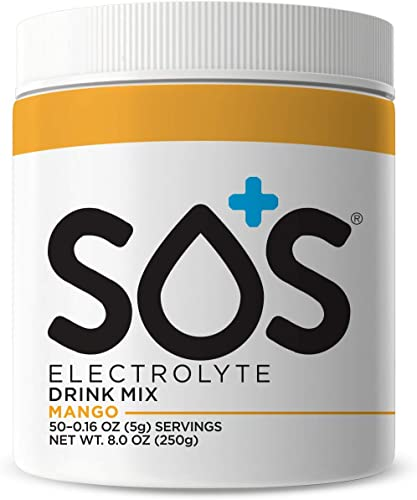SOS Hydration Electrolyte Replacement Powder Drink Mix, Doctor Formulated for Sport, Travel, Illness and Hangover, Keto, Fast-Dissolving, Supplement Jar- Mango 50 Servings