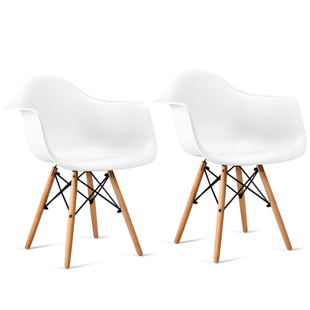 Giantex Set of 2 Modern Dining Chairs w/Natural Wood Legs, Easily Assemble Mid Century DSW Molded Plastic Shell Arm Chair for Living Room, Bedroom, Kitchen, Dining Room, Waiting Room, White by Giantex