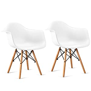 Giantex Set of 2 Modern Dining Chairs w/Natural Wood Legs, Easily Assemble Mid Century DSW Molded Plastic Shell Arm Chair for Living Room, Bedroom, Kitchen, Dining Room, Waiting Room, White