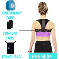 New 2019 Upper Back Brace Posture Corrector for Men Women | Clavicle Support Underarm Cushions, Kinesiology tape and Carry Bag Included | FDA Approved, Fully Adjustable, Straighten Posture, Maintain Muscle Memory