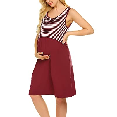 POPNINGKS Women Casual Dress Pregnant Maternity Nursing Solid Dress Breastfeeding Clothes Summer Maternity Dresses: Clothing [5Bkhe0305412]