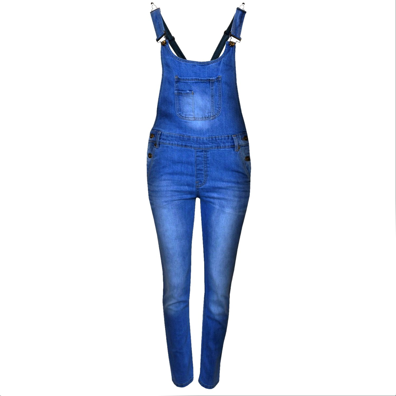 Kids Girls Denim Jeans Dungaree Full Length Celeb Pinafore Overall Jumpsuit 7-14