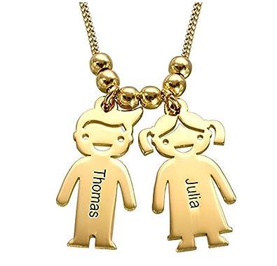 2167d9b3c506 Collar Nombre Hijos Colgante con Dos Nombres de Madre y Collar de Dos niños  Personalizado con 2 Nombres de bebés Joyería de Plata  Amazon.es  Joyería