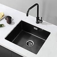 CECIPA Fregadero de Cocina un Seno con el grifo,50 cm*43 cm Incluyendo Con grifo de agua Rebosadero y Juego de Desagüe…