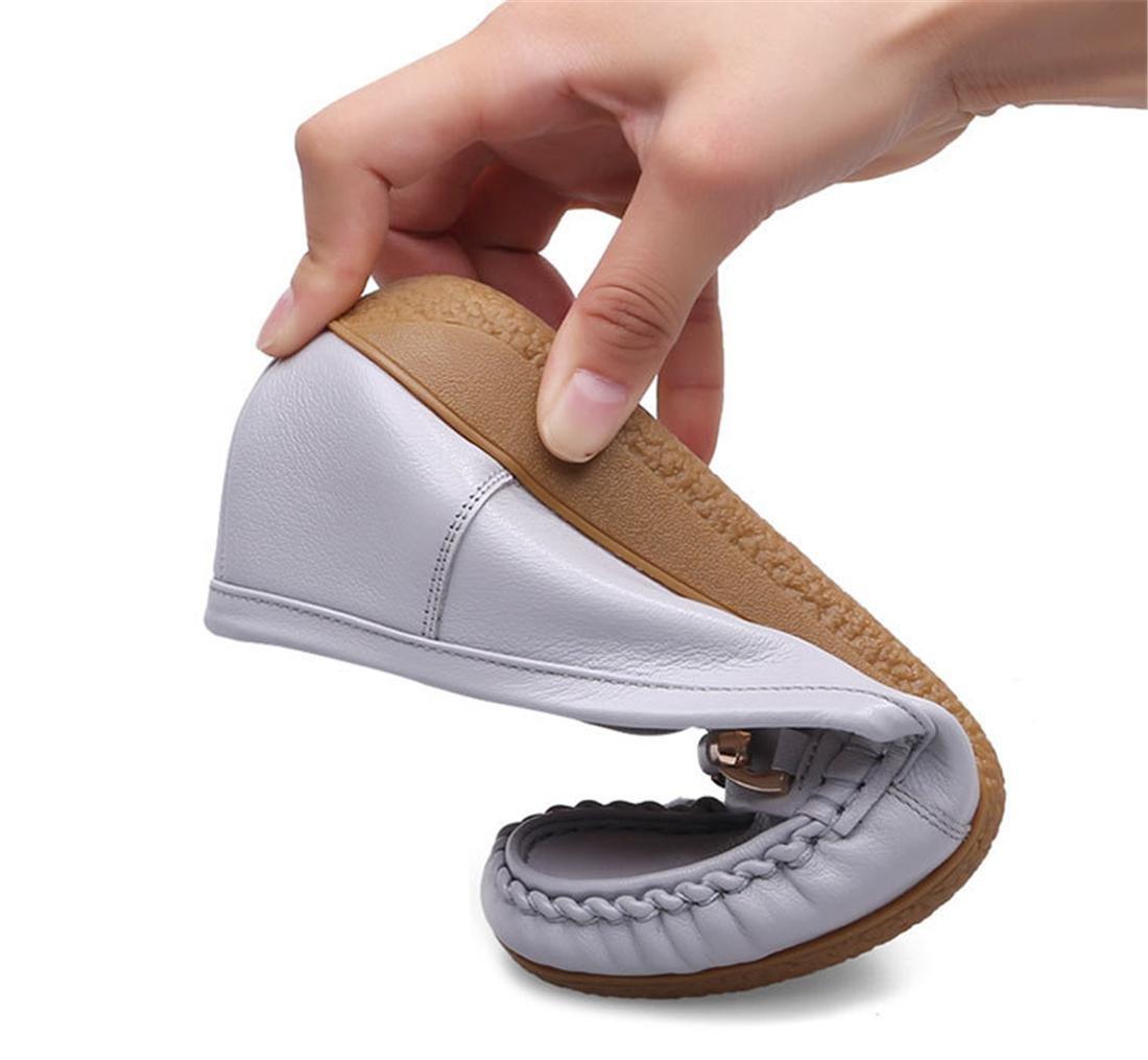 NVXIE Señoras Flats Single Shoes Nuevo Leisure Loafer Comfort de Cuero Genuino Bombas Antideslizante Soft Bottom Negro Fall Spring Party Work, EUR 40/UK 7 GRAY-EUR40UK7