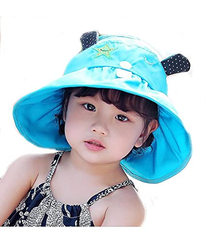 Amazon.com  Mo-Magic Kid Baby Summer Hat Baby Sun Hat Wide Brim Sun ... 584b1b0db32