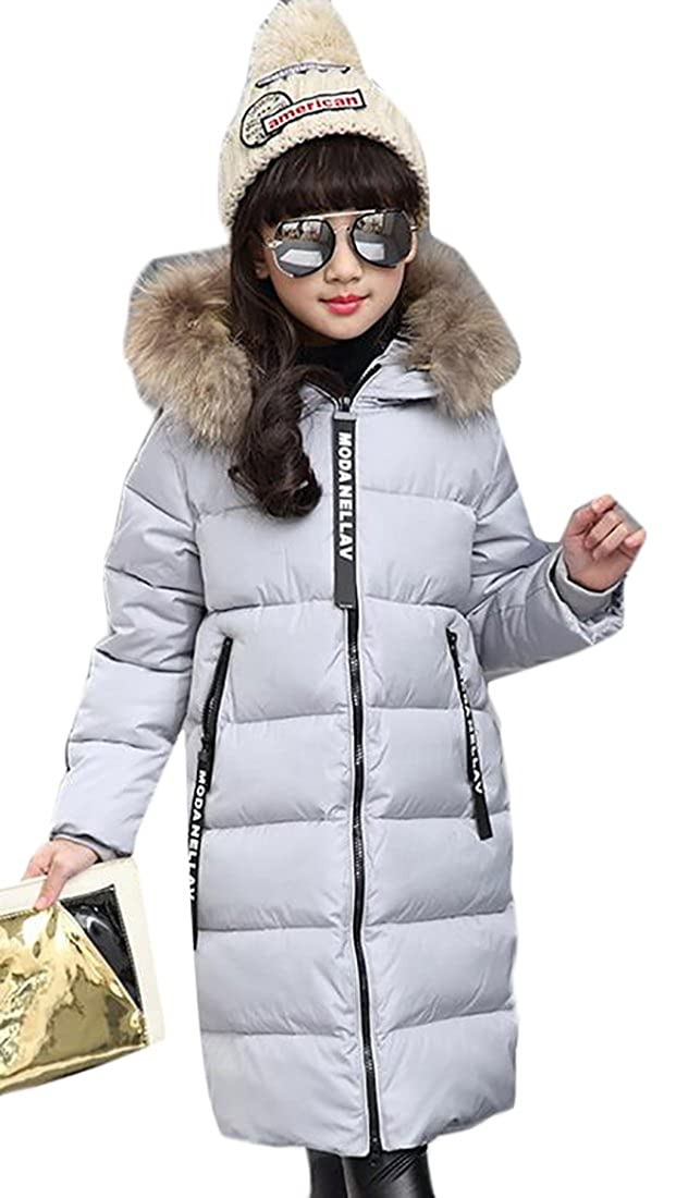 lovever Little Girls Fashion Letter Printing Faux Fur Thickening Warm Hooded Puffer Down Jacket