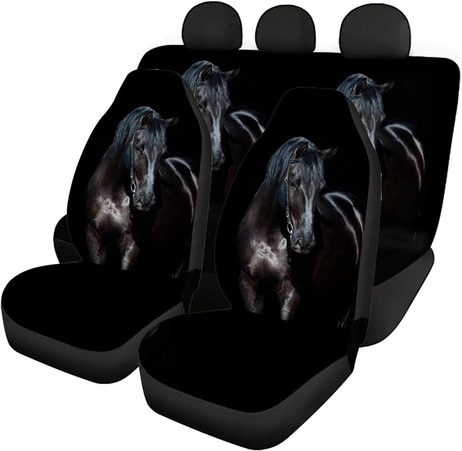 Coloranimal Vivid - Fundas de asiento de coche con estampado de caballo, 3 piezas para asiento trasero delantero y trasero, se adapta a la mayoría de coches, sedán, tronco, SUV o furgoneta accesorios