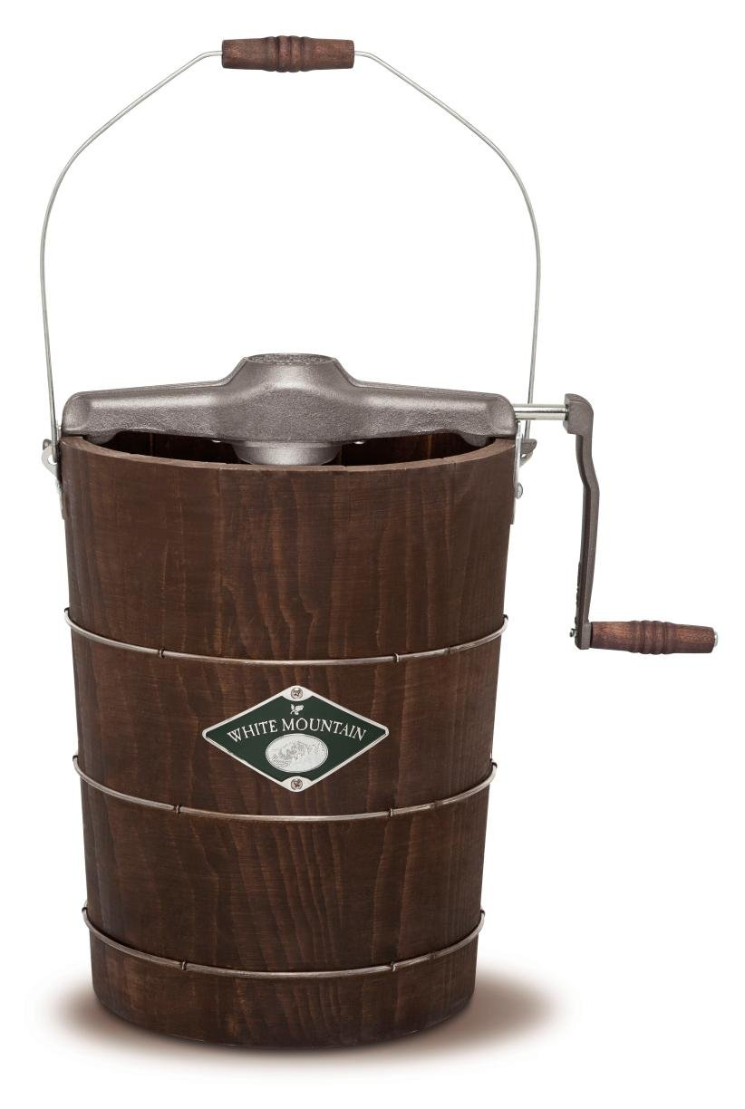 White Mountain Hand Cranked Ice Cream Maker with Appalachian Series Wooden Bucket, 6 Quart (PBWMIMH612-SHP)