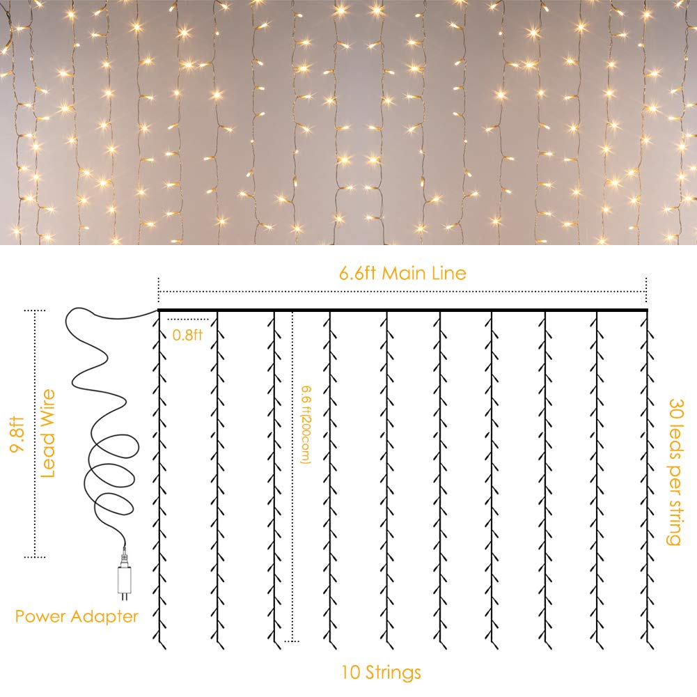 GDEALER 300 Led Window Curtain Lights with Timer,Remote Control String Lights Fairy Lights for Wedding Party Bedroom,6.6x6.6ft Hanging Lights Twinkle Lights Christmas Lights Wall Decor Warm White by GDEALER (Image #6)
