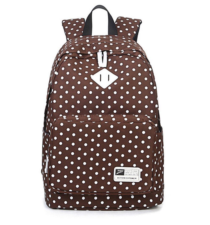 Fansela(TM) Casual Dot Canvas Laptop Bag School Backpack For Teenage Girls Black