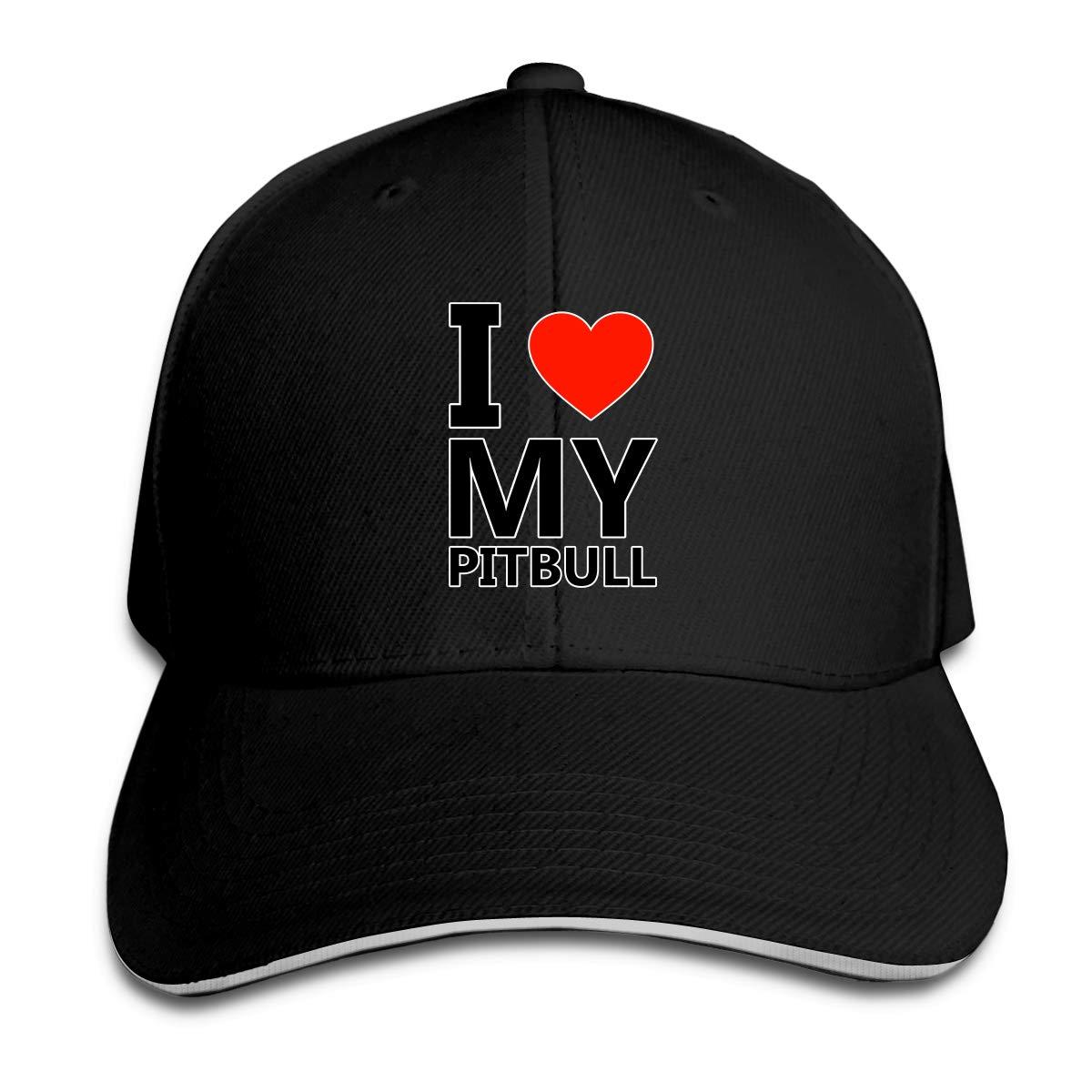 WFIRE Adult Baseball Caps I Love My Pitbull Custom Adjustable Sandwich Cap Casquette Hats