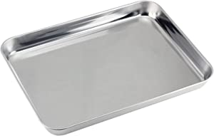 Mujiang Stainless Steel Compact Toaster Oven Pan Tray Ovenware Professional, Heavy Duty & Healthy, Deep Edge, Superior Mirror Finish, Dishwasher Safe, 10''x8''x1'', Silvery