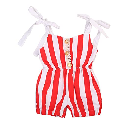 51ec29a2b Amazon.com  Newborn Infant Baby Girls Rompers Striped Bubble Romper ...