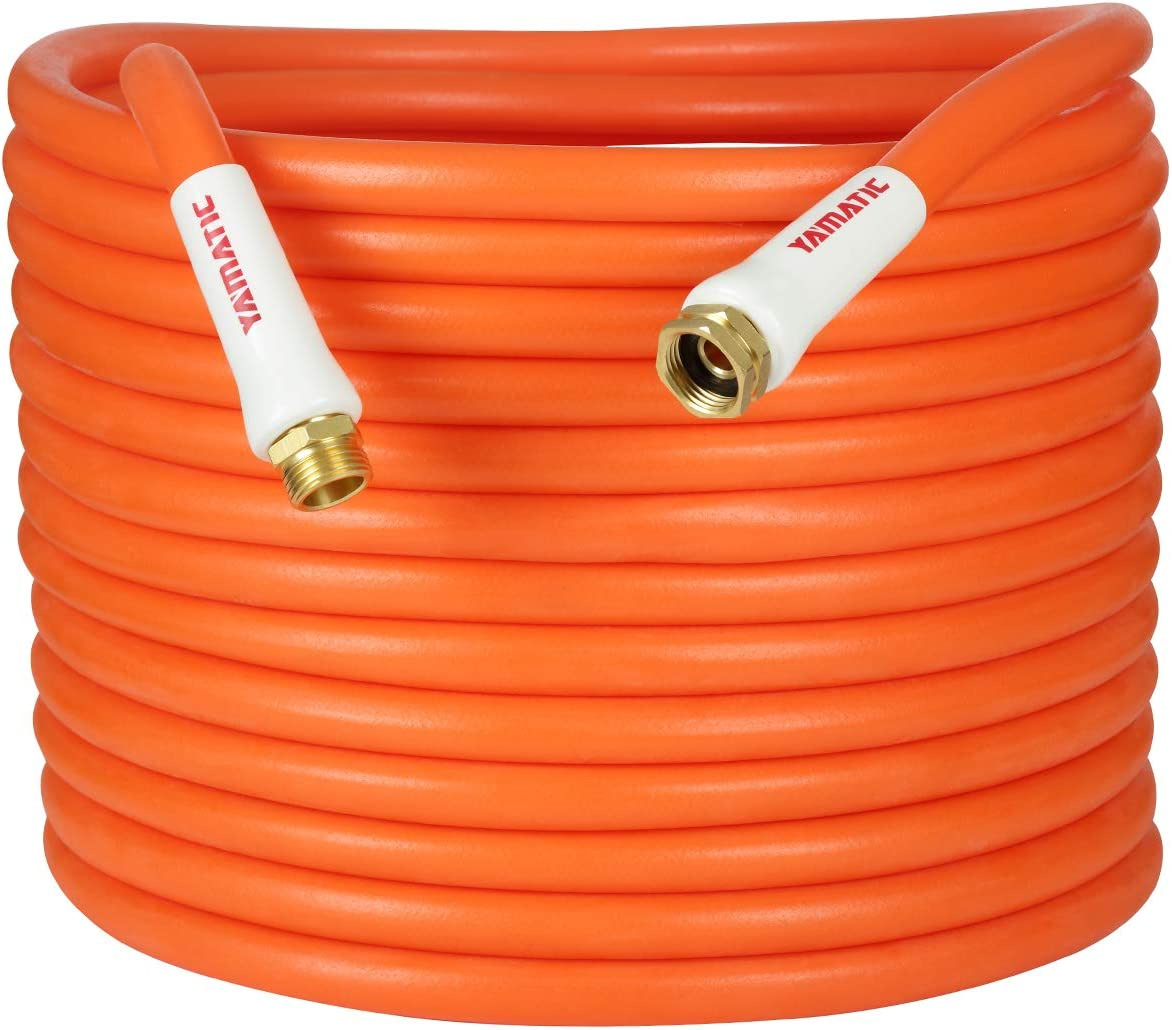 YAMATIC Kink Free Garden Hose 5/8 in. x 50 ft All-Weather Flexibility Water Hose Hybrid, Light Weight, Enhanced Brass Connectors