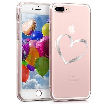 kwmobile Funda para Apple iPhone 7 Plus / 8 Plus - Carcasa Protectora de [TPU] con diseño Dibujo de corazón en [Plata/Transparente]