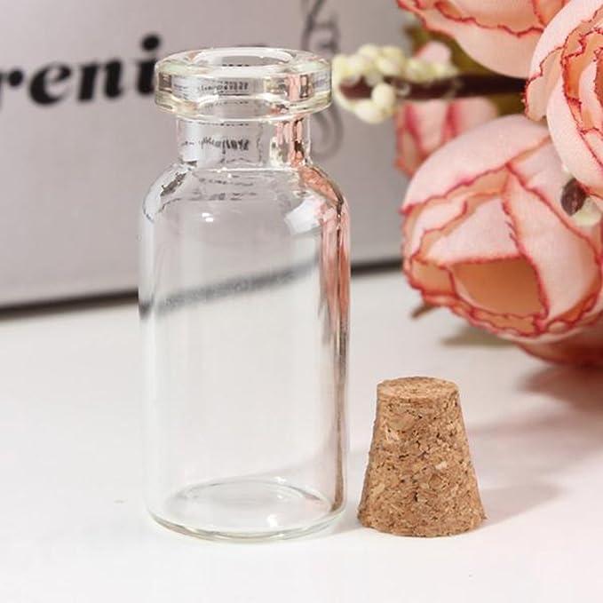 25 pcs 2 ml botella de vidrio viales Mini botes de mensaje claro vacío que deseen botella de cristal con tapón de corcho para boda fiesta: Amazon.es: Hogar