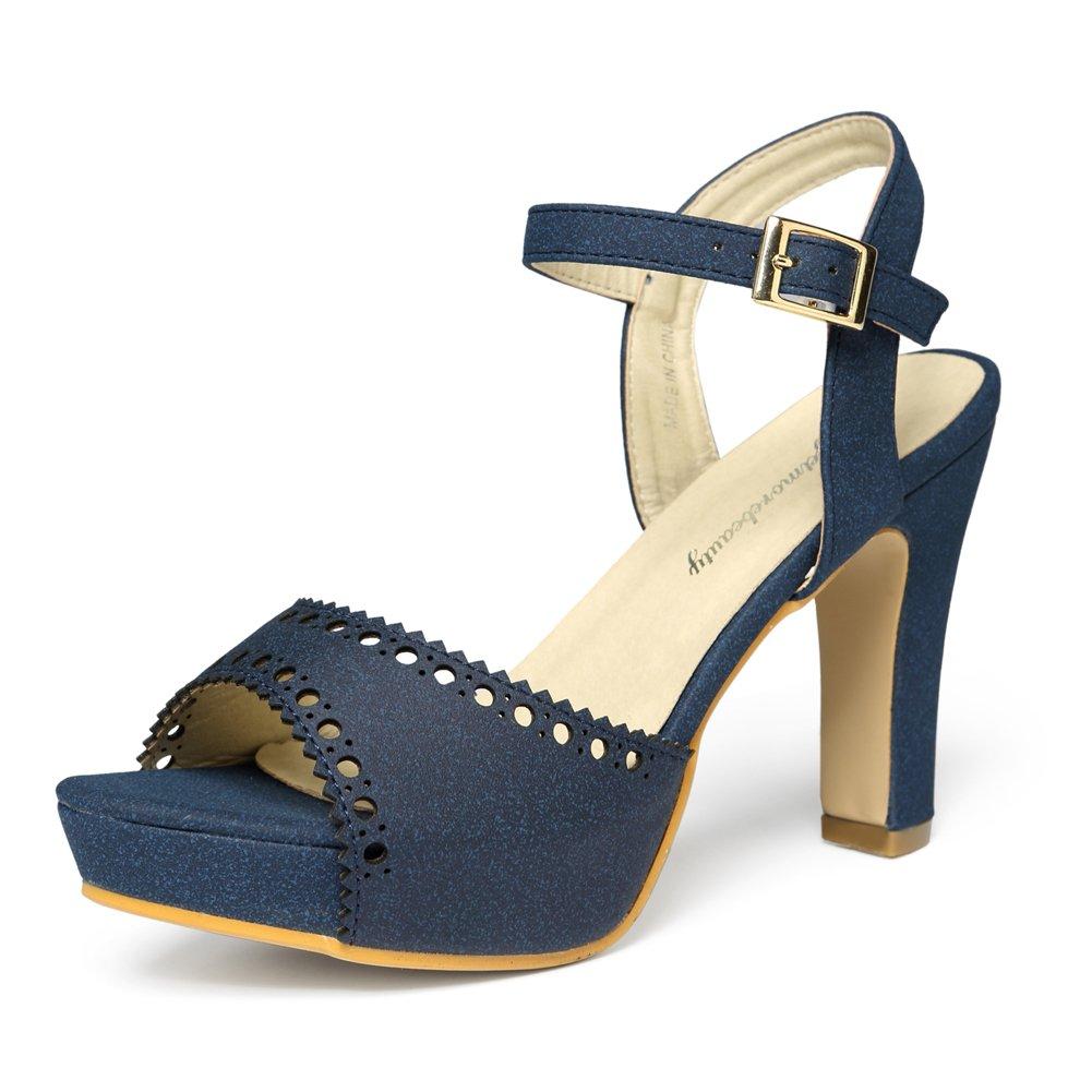 Navy-197 getmorebeauty Women's Vintage Suede Ankle T Straps Dress Block Heeled Sandals Pumps