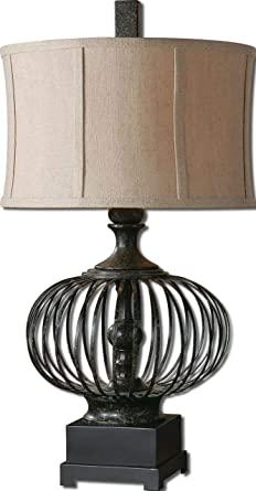 Rustic Black Iron Cage Table Lamp Amazon Com