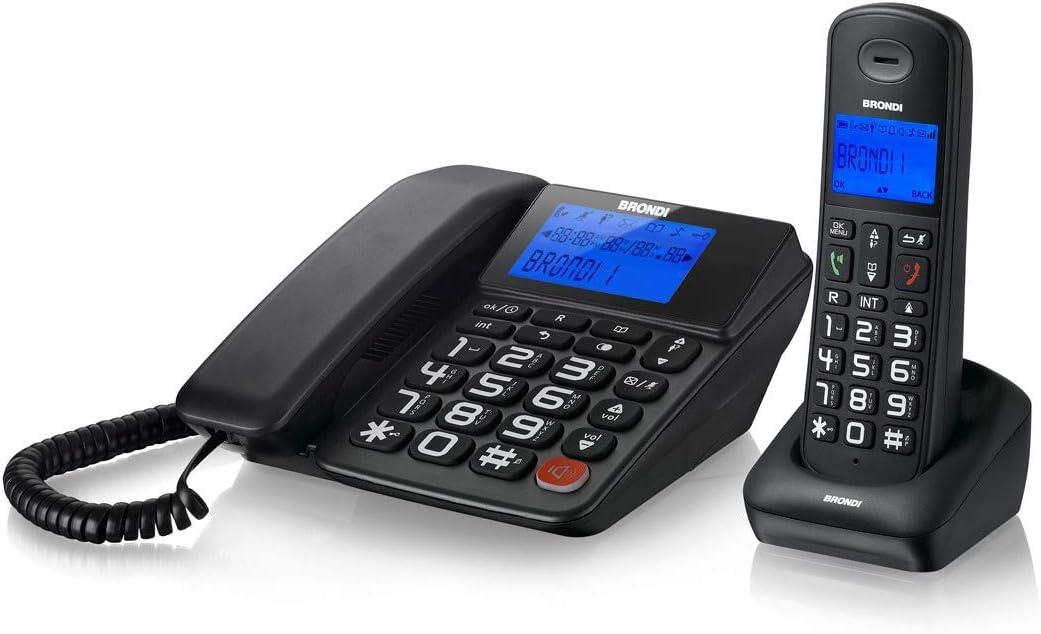Brondi Bravo Style Combo - Teléfono (Teléfono DECT, Terminal inalámbrico, Altavoz, 50 entradas, Identificador de Llamadas, Negro)
