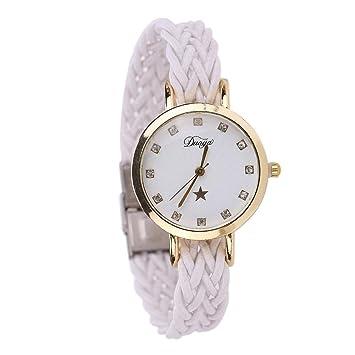 Vanpower Reloj de pulsera de cuarzo para mujer Weave Watchband Teenagerrs Quartz Watch (Blanco)