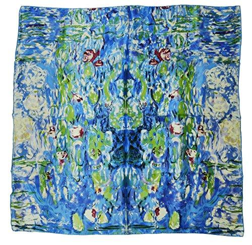 Silk Scarf Shawl Wrap Art - YSSP, Lilies-Claude Monet's Painting, Square Elegant Luxury Fashion 100 Silk Scarf Premium Shawl Wrap Art