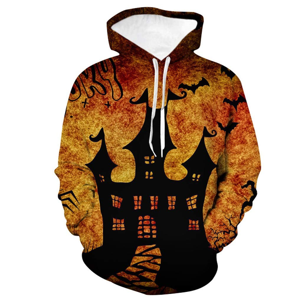 FIN86 Mens Casual Scary Halloween 3D Printed Long Sleeve Sweatshirt Hoodie Top Blouse by FIN86