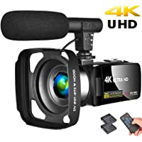 "Camcorder 4K Video Camera Vlogging Camera Recorder with Microphone 30MP 3"" LCD Touch Screen Webcam Function 18X Digital…"