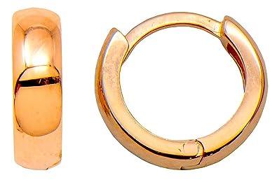 Amazon Com 14k Gold Classic Tiny Huggie Hoop Earrings 3mm Thick