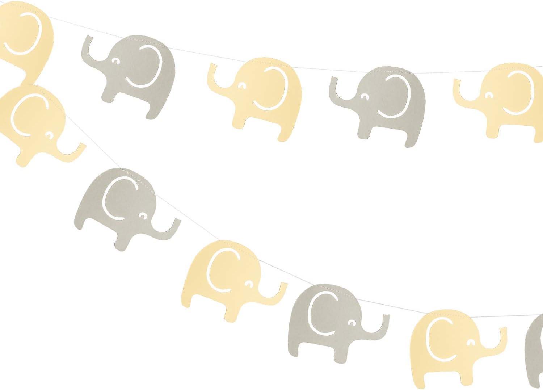 Elephant Garland Decorations, Elephant Baby Shower Banner, Elephant Theme Party Banner (Yellow, Gray) 10 Feet, 24PCS