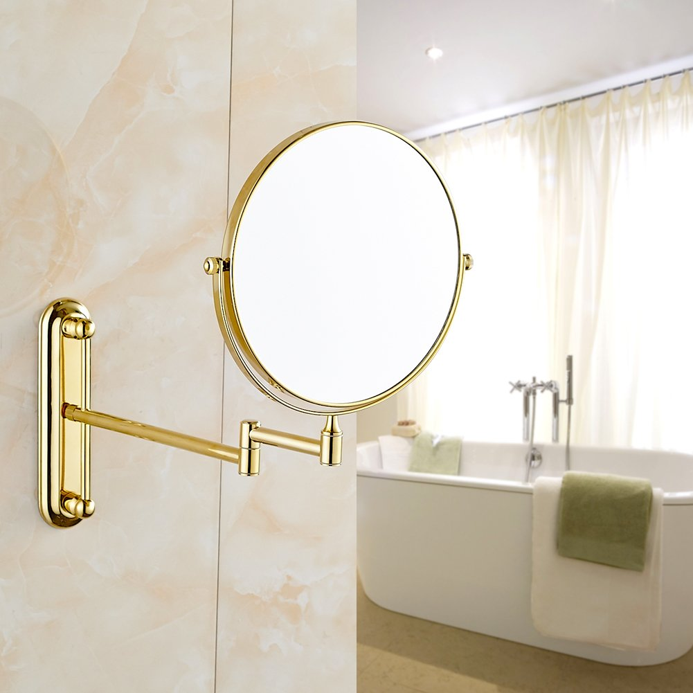 GURUN 10x Magnification Adjustable Round Wall Mount Mirror 8-inch Double Sided Makeup Mirrors,Gold Finish M1806J(8in,10x) by GURUN (Image #2)