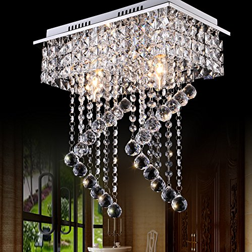 Surpars House Flush Mount 2-Light Crystal Chandelier, Length:15'' Width:7.87'' Height:15.3'',Silver by Surpars House (Image #1)