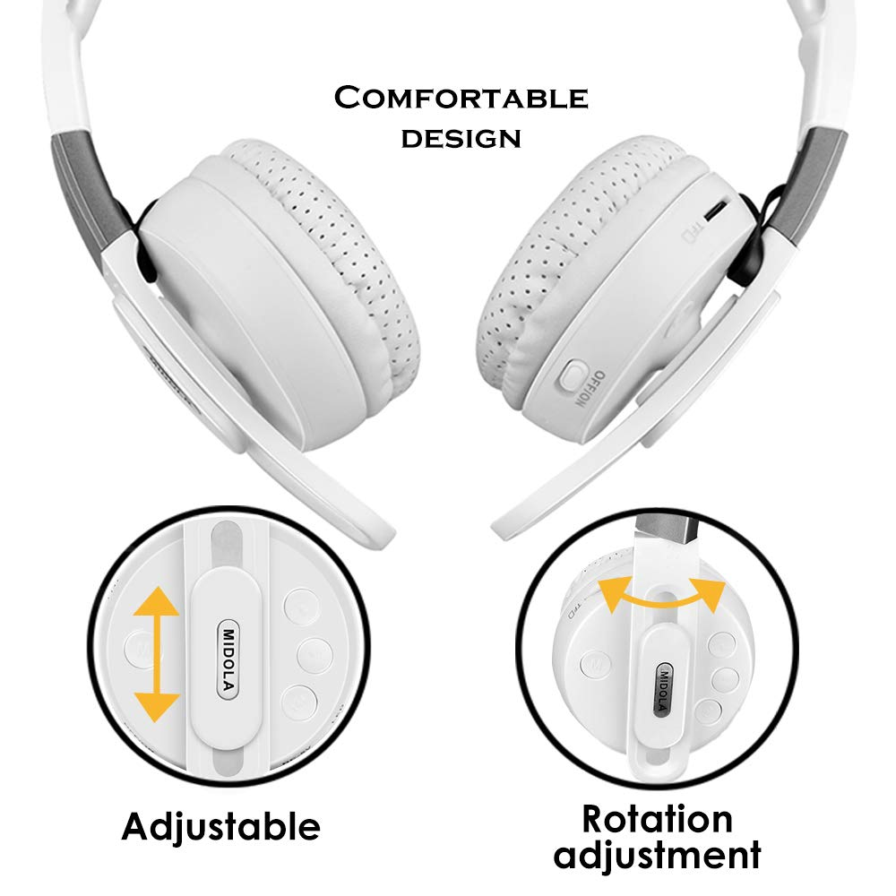 with Soft Earmuffs 3.5mm AUX Jack TF Card Slot MIDOLA Sports Bluetooth Headphones Wireless Wired On-Ear Foldable Portable Durable Adjustable Lightweight Built-in Mic for Cellphone Tablet