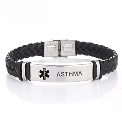 LiFashion LF Mens Stainless Steel Braided Leather Medical Alert Wristband  Sos ICE Personalized Customized Medical ID Bracelet Awareness Emergency for