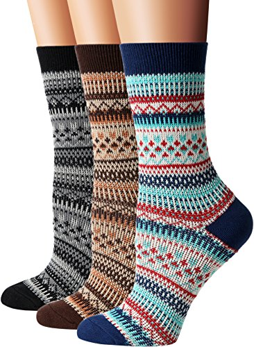Flora&Fred Women's 3 Pair Pack Vintage Highland Cotton Crew Socks,Blue,Brown,Black,Shoe Size 5-9