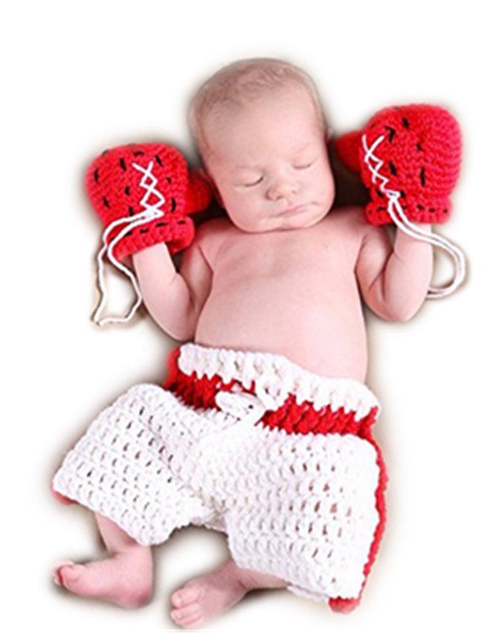 Handmade Infant Newborn Baby Girl Boy Crochet Knit Champion K.O Gloves Shorts Photography Props Outfits Costume Auberllus