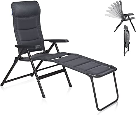 Silla de camping/Tumbona Napoli XL con reposapiés, regulable en 7 posiciones, respaldo alto con reposapiés