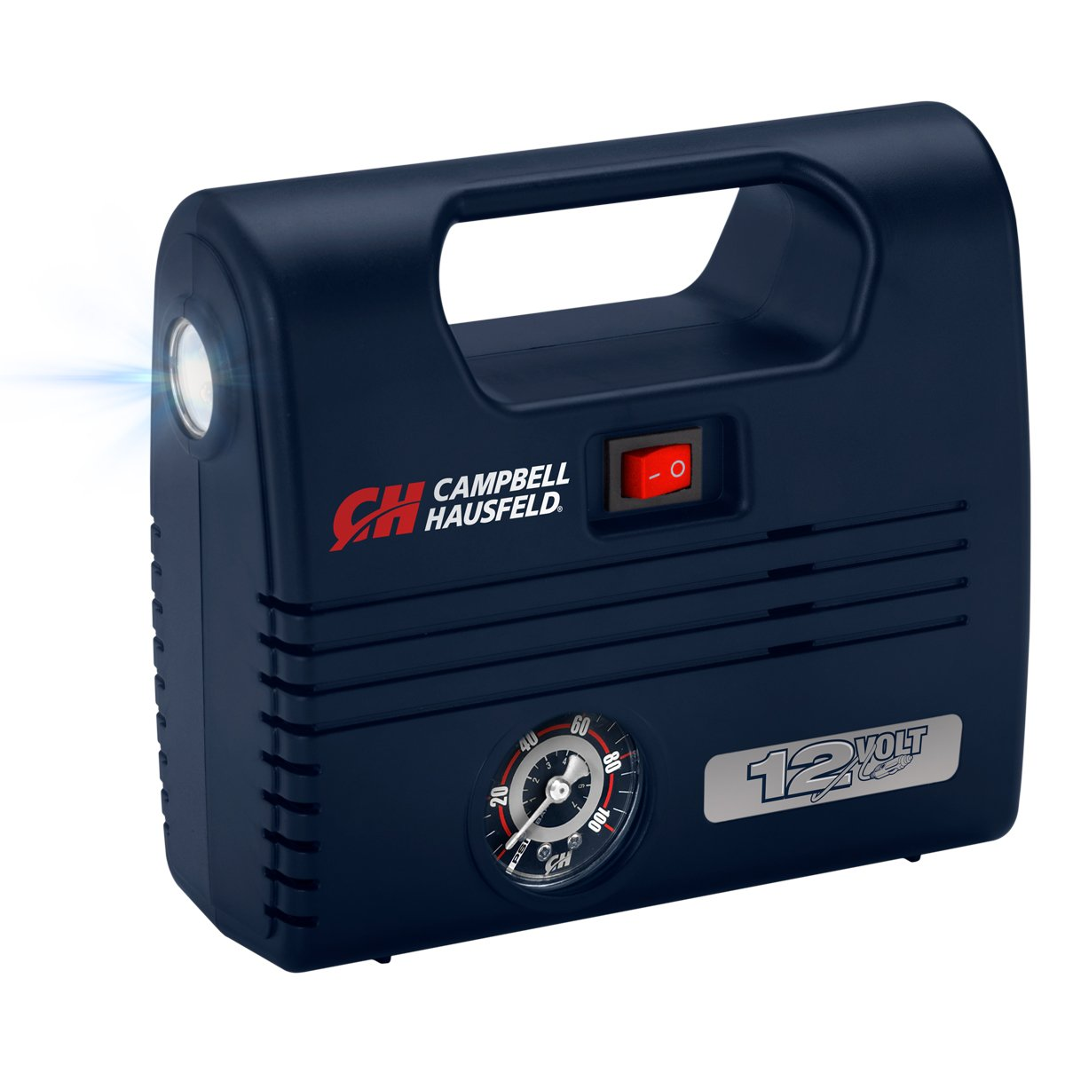 Portable 12 Volt Inflator, Ball & Tire Compressor, LED Light, 100 PSI w/Nozzles (Campbell Hausfeld AF010600)