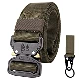 OHENNY Men's Tactical Belt with Molle Hook, Long 57'' Heavy Duty Webbing Belt,Adjustable Military Style Nylon Belts Metal Buckle Key Ring