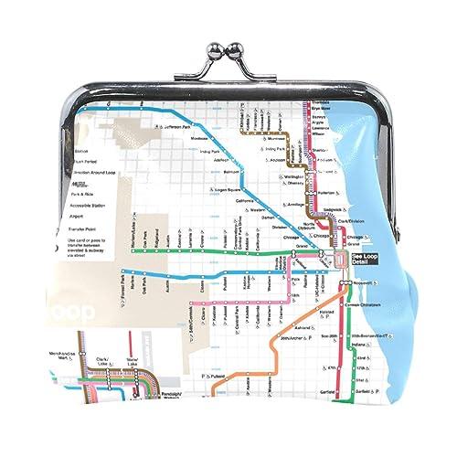 Amazon.com: Chicago - Monedero de piel con estampado de mapa ...