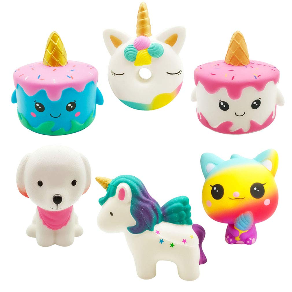Yonishy Unicorn Squishies Toy Set - Jumbo Narwhale Cake,Unicorn Cake,Unicorn Donut,Dog,Unicorn Horse,Ice Cream Cat Kawaii Slow Rising Squishy Toys for Kids Party Favors(6 Packs)