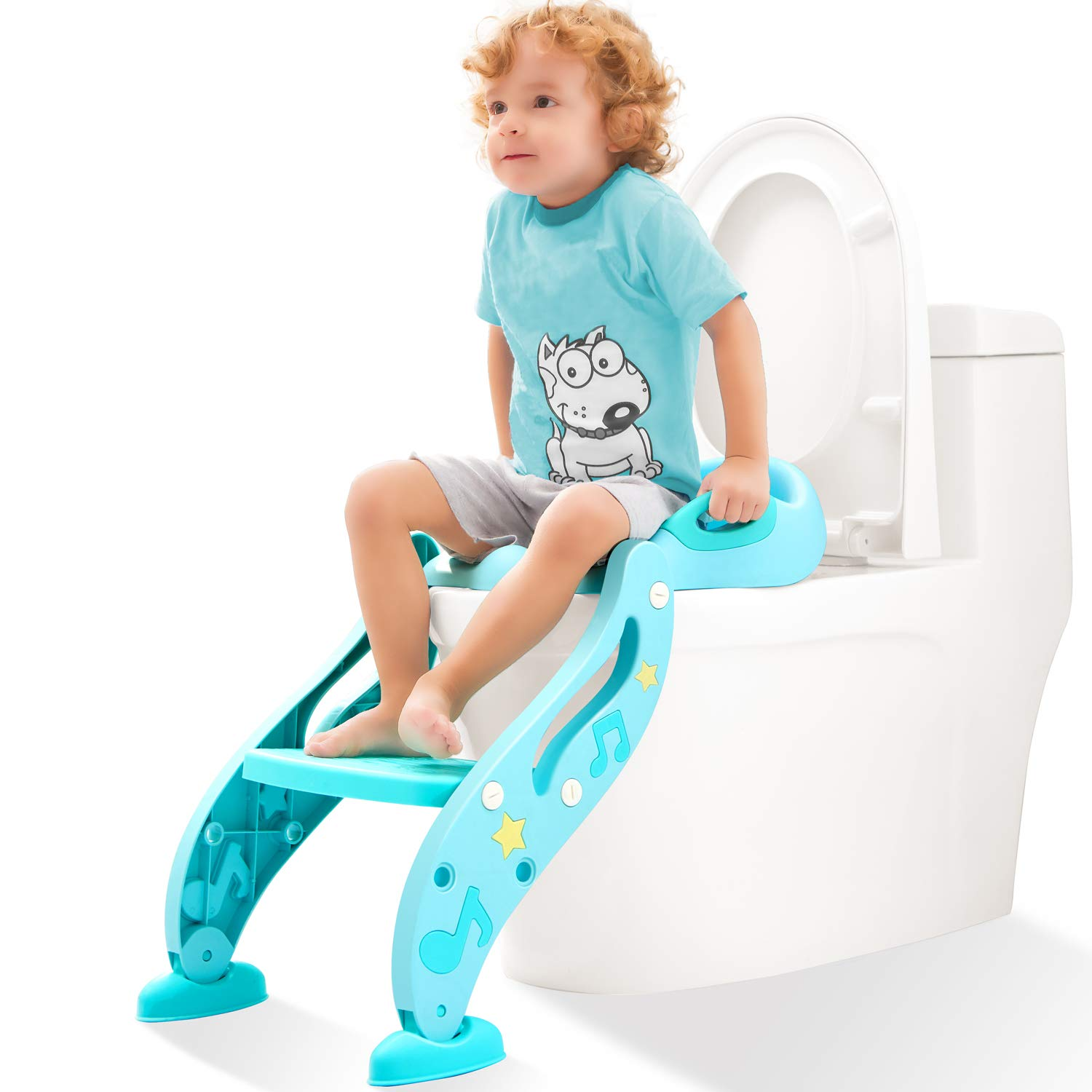 KIDPAR Potty Training Seat for Kids,Adjustable Toddler Toilet Potty Chair with Sturdy Non-Slip Step Stool Ladder, Comfortable Handles and Splash Guard, Easy to Assemble Toilet Seat for Boys and Girls KD188