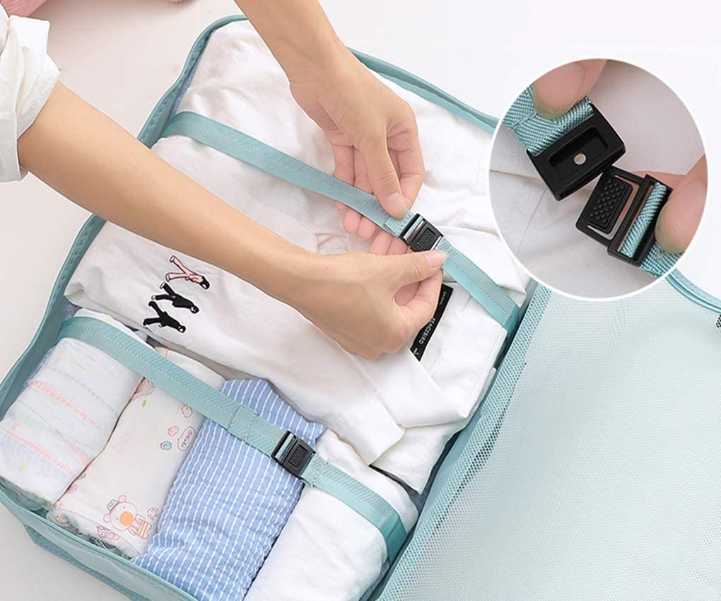 9 Set Packing Cubes,Travel Storage Wash Bag Clothes Underwear Storage Bag Sub-Package Portable Suit Luggage Classification,B