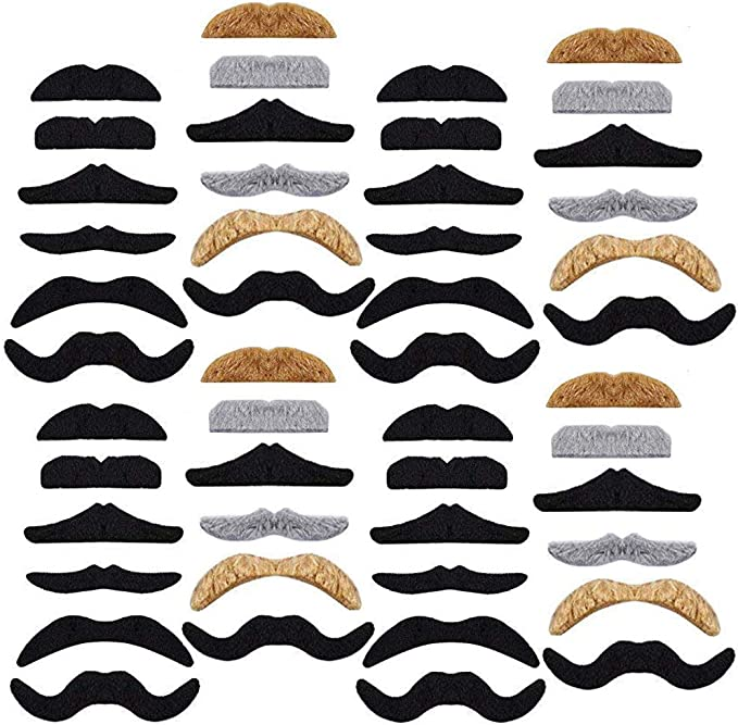 120 PCS 10 Different Shapes Fake Black Mustaches,Novelty Fake Mustaches,Mustache Party Supplies for Masquerade Party /& Performance