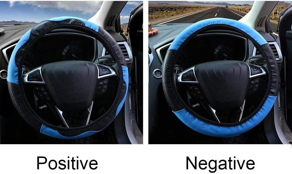 XTQDM housse de volant,Couvre-volant de voiture respirant anti-d/érapant en cuir PU couvre-direction appropri/é 37-38cm d/écoration automatique en Fiber de carbone bleu