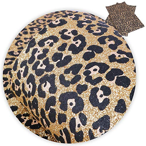 1 Pcs 8x13 Inch Leopard Glitter Faux Leather-Leopard Print Fabric-Leopard Leather Fabric Sheets-Cheetah Leather Sheets for Earring Making-Synthetic Leather Fabric for Wallpaper Coverings (No4)
